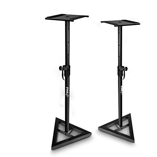 """Sonos Speaker Stand Pair of Sound - Play 1 and 3 Holder, Telescoping Height Adjustable from 26"""" - 52"""" Inch, High Heavy Duty Three-point Triangle Base w/ Floor Spikes and 9"""" Square Platform - Pyle"""