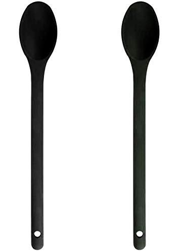 Baker Boutique Juego de 2 cucharas de Cocina antiadherentes de Silicona, BPA y Grado FDA, Resistentes al Calor, Juego de cucharas de Cocina para agitar, cucharar y Mezclar (Negro)