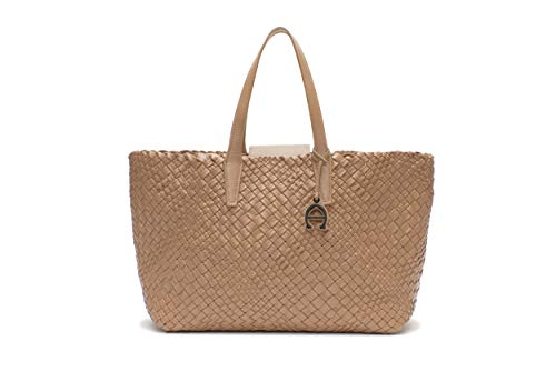 Etienne Aigner Woven Leather Tote In Sand