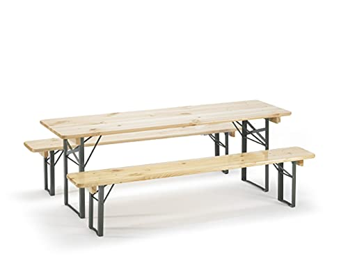 Traturio Ensemble table et bancs pliants avec protection de sol 150 x 45 x 52 cm