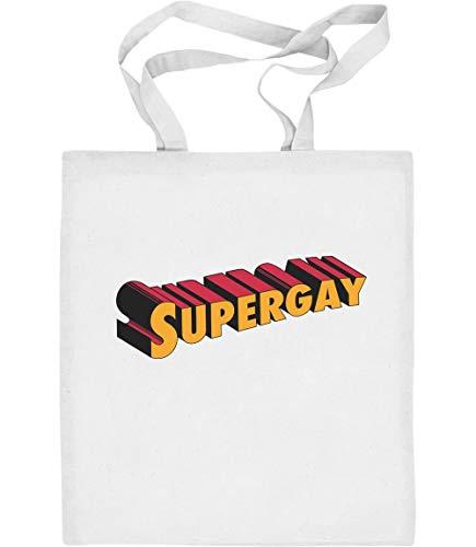 Supergay Gay Pride LGBT Outfit Jutebeutel Baumwolltasche One Size Weiß