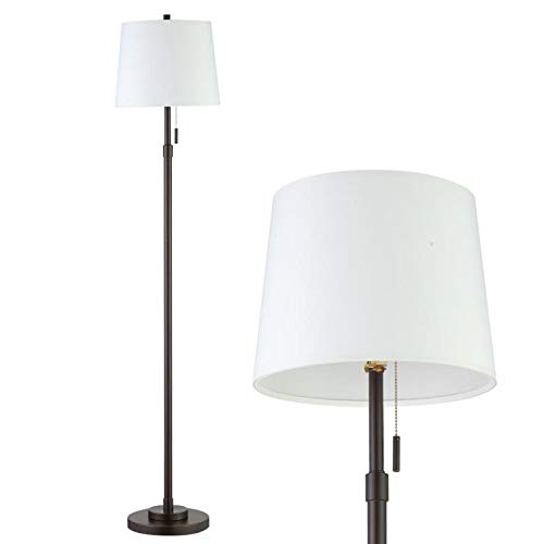 Farmhouse Floor Lamp, White Floor Lamp with Shade, Mid Century Black Floor Lamps for Living Room Modern, Metal Pole Tall Standing Lamp for Office Bedroom by RORIANO