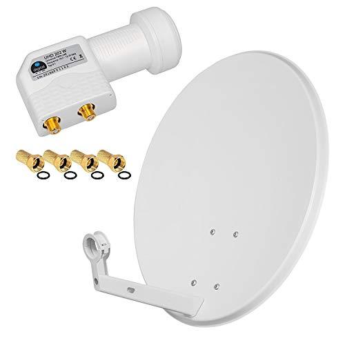 HB Digital SAT Anlage 60cm Spiegel Schüssel hellgrau + Twin LNB 2 Teilnehmer 0,1dB zum Empfang von DVB-S/S2 Full HD 3D 4K Ultra HD (UHD) Signale + Stecker Gratis dazu im Set