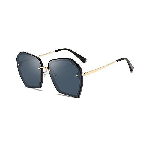 Heigmz Nvtyj Gafas de sol polarizadas semi sin montura marca de gafas de sol Protectionb para 100% protección gafas marco de aleación con funda (color negro)