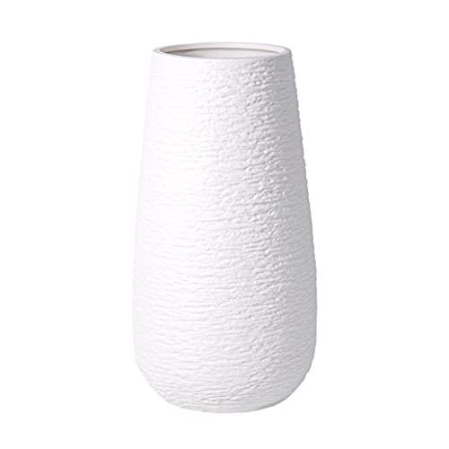 D'vine Dev 10 Inch Modern White Ceramic Vase, Oval-Shaped, Textured Flower Vase...