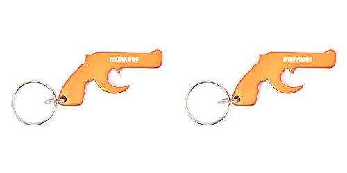 munkees 2 x Schlüsselanhänger Pistole mit Flaschenöffner Aluminium, Schlüsselring, Orange, Doppelpack, 347029