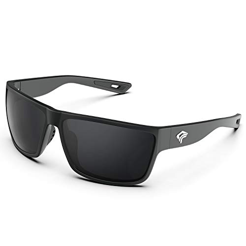 TOREGE Polarized Sports Sunglasses for Men and Women Cycling Running Golf Fishing Sunglasses TR26 (Black Frame & Grey Lens)