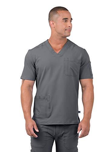 Coast Oak Clothing Men's Anti-Microbial Stretch Wrinkle & Stain Resistant Dana Scrub Top Grey