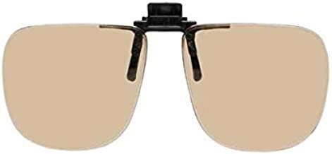 Computer Glasses with Peach//light Beige Polycarbonate Sheer Glare Anti-reflective Lenses Clip-on Flip-ups B Square A 55mm 56-58mm