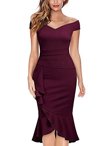 Knitee Women's Off Shoulder V-Neck Ruffle Pleat Waist Bodycon Evening Cocktail Slit Formal Dress (A-Burgundy, m)