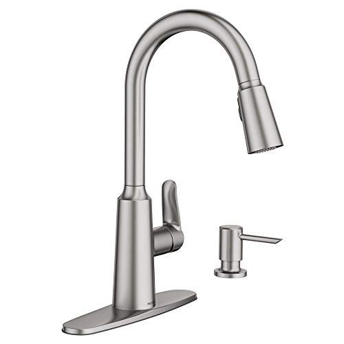 Moen 87028SRS Edwyn Spot Resist Sta Inless 1Handle Deck Mount Pulldown Kitchen Faucet,...