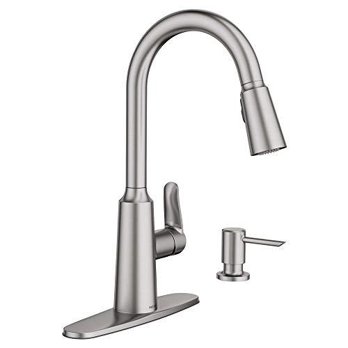 Moen 87028SRS Edwyn Spot Resist Sta Inless 1Handle Deck Mount Pulldown Kitchen Faucet, Stainless...