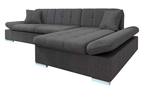 Mirjan24 Ecksofa Malwi LED, Regulierbare Armlehnen und LED Beleuchtung im Set, Eckcouch mit Schlaffunktion und Bettkasten, L-Form Couch, Sofa,...