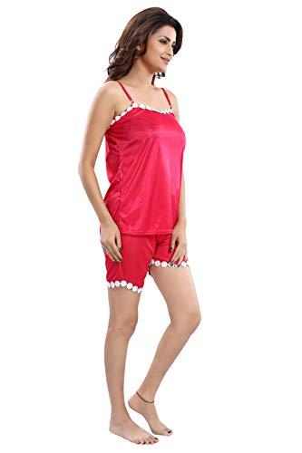 Fashigo Women's Satin Top & Shorts Nightwear/Loungewear Set Pink