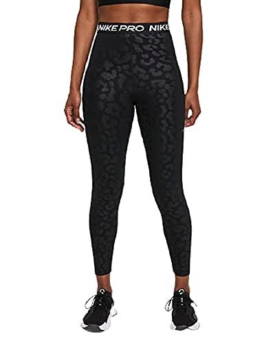 NIKE W NP DF HR AOP 7/8 TGT Leggings, Black/Clear, L Women's