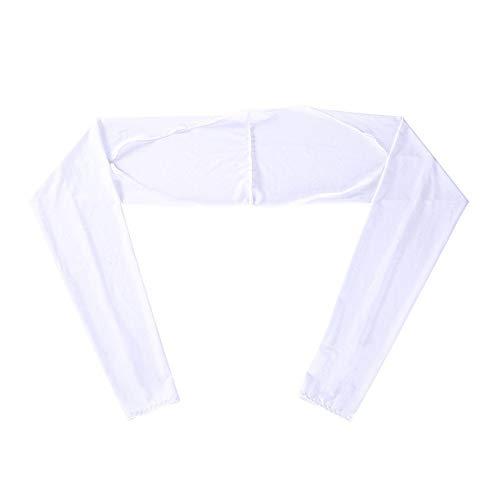 YING-pinghu Guantes de protección Solar Manga del Brazo for protegerse del Sol Mujeres Camuflaje Imprimir Medio Dedo Guantes de Golf Brazo Largo de Las Mangas Protección UV (Color : White)