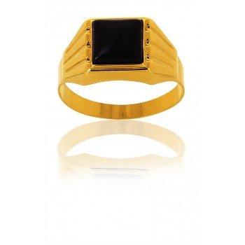 AvenueDuBijou - Anello da uomo in oro giallo 18 kt e onice quadrato