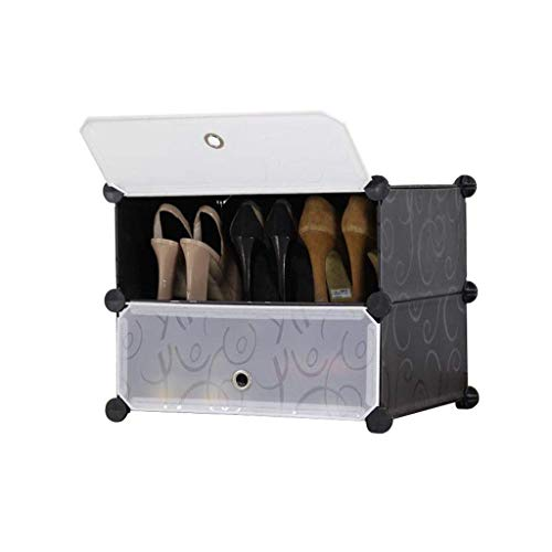 LIANGANAN Almacenamiento de Zapatos Zapatero Estantes plástico Armario de Almacenamiento Modular Estantería de combinación a Prueba de Polvo sin Necesidad de Herramientas Zapatero