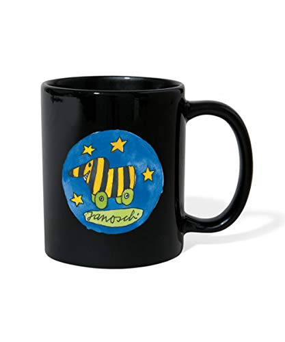 Spreadshirt Janosch Tigerente Logo Badge Sterne Tasse einfarbig, Schwarz