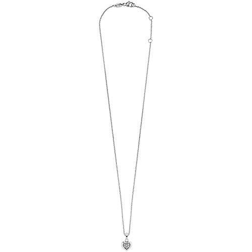 Herzengel Kette mit Herzchen Anhänger für Mädchen 925er-Sterlingsilber rhodiniert mit 6 weißen Zirkonia Länge 38 cm plus 4 cm