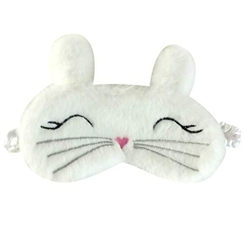 COSYOO Schlafmaske für Damen, flauschig, atmungsaktiv, Plüsch, Kaninchen-Augenmaske, Schlafmaske Gr. Einheitsgröße, weiß