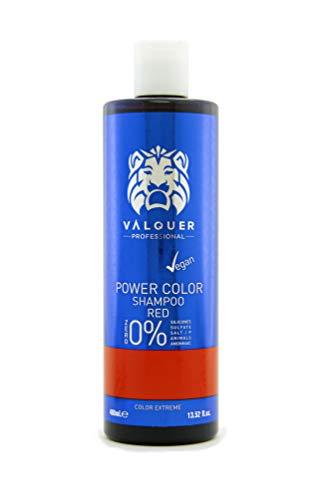 Valquer Profesional Champú Power Color cabellos teñidos. Vegano Y Sin Sulfatos (Rojo). Potenciador color cabello - 400 ml.