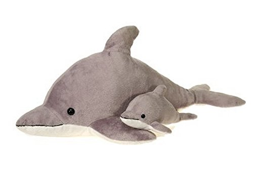 "Gray Dolphin Plush Stuffed Animal Toy by Fiesta Toys - 22"""
