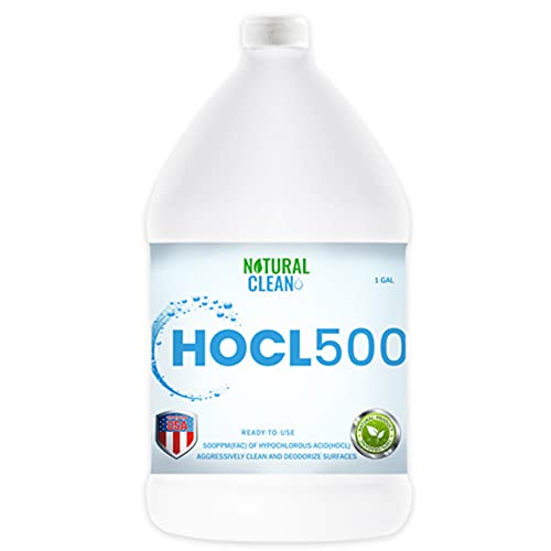 Hypochlorous Acid Hospital-Grade Cleaner - HOCL500 (1-Gallon) 500 PPM Professional Surface Cleaner for ULV Foggers & Sprayers, Home Use, Medical and Dental Offices, Gyms and Schools, By Natural Clean