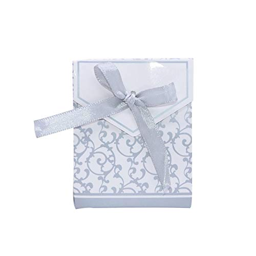 N-B 10Pcs Creative Gold Silver Paper Boxs With Gold Ribbon Wedding Favours Birthday Party Candy Bags Packaging Supplies