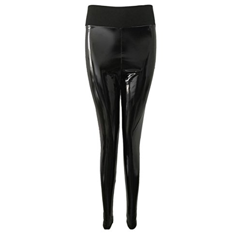 Femmes Lady Stretchy Brillant Sport Fitness Leggings Pantalon Bas Slim Jeans Combinaisons Short Collants Knickerbockers (XL,Noir)