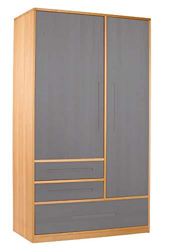 BioKinder - Das gesunde Kinderzimmer Schrank Kleiderschrank, Farbe:Grau