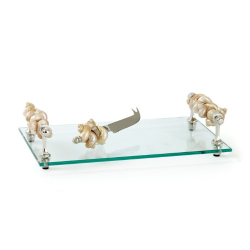 Shell Seaside Cheese Board with Knife Set Glass Tray Unique Centerpiece for Food,Tea,Coffee,Breakfast,Snacks,Cheese,Appetizers,Cake Serving Stand Best Present Mom, Hostess,Valentine,Birthday Gift