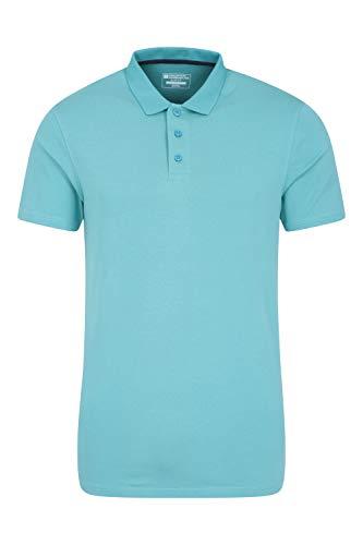Mountain Warehouse Polo Jersey de Corte Ajustado Hombre - Camiseta Ligera, máxima protección UV y Transpirable - Ideal para el Verano, Viajes, Exterior Azul Claro 4XL
