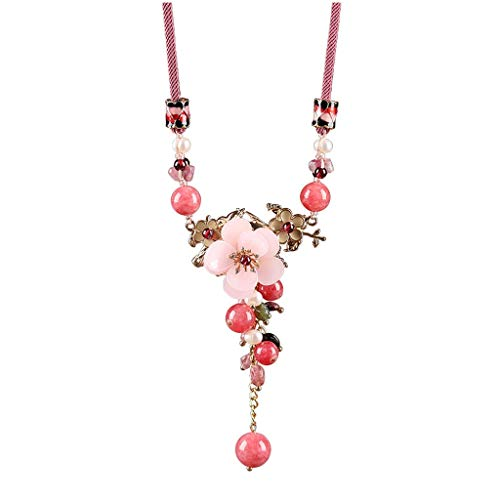 kerryshop Collar de Mujer Colgante, Collar de Estilo Chino Granate Rosa Flor de Durazno Colgante étnico señoras del Estilo de Accesorios Collar Ajustable Ropa Collar Nuevo