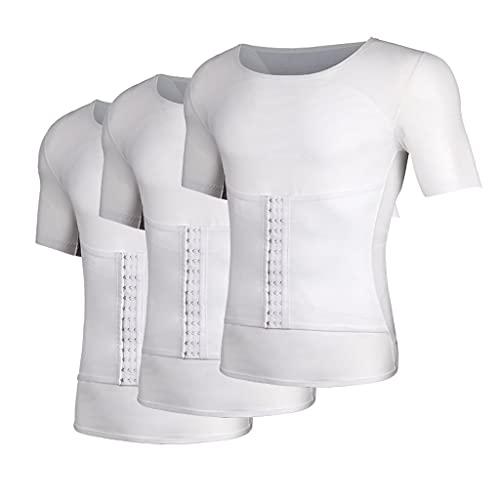 sauna podkoszulek Bluzki Kamizelki Męskie Zestaw 3 Szt Męska Koszula Wyszczuplająca Modelująca Sylwetkę Kamizelka Kompresyjna Podkoszulki do Treningu Talii(Size:L,Color:white)