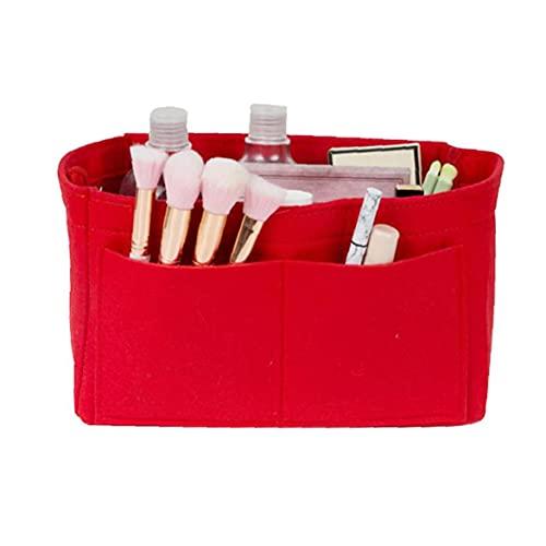 NaiCasy El Maquillaje del Organizador del Bolso de Fieltro Bolso cosmético Insertar Monedero del Organizador de Viajes Higiene de Almacenamiento, Rojo
