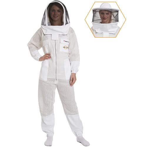 NATURAL APIARY - Zephyros Protect - Ventilated Beekeeping Suit – Total Protection for Professionals and Beginners - Large - White
