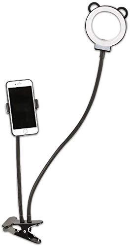 Gyps Clip On selfie ringlicht met telefoonhouder Multifunctionele dimbare LED nachtkastlamp leeslamp instelbare zwanenhalscirkel