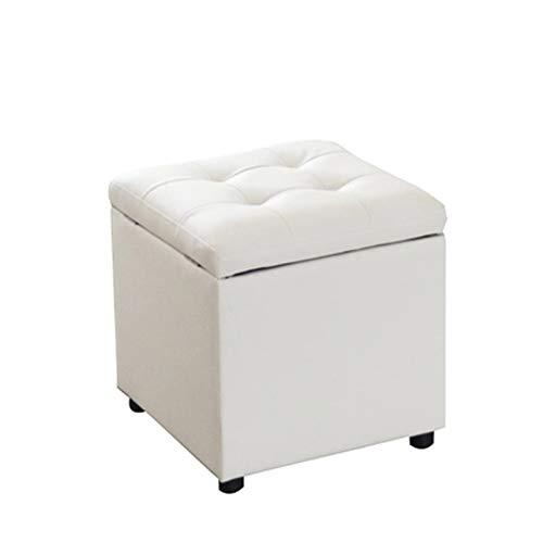 LULUDP Fußhocker Polsterhocker Kunstleder-Klappaufbewahrungsbank / -Sattel Fußstütze Hocker/Sitztisch Hocker Fußhocker (Cube) (Farbe : Weiß)