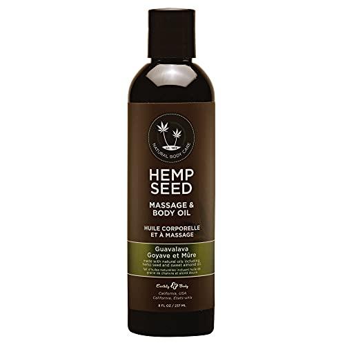 Earthly Body Hemp Seed Massage & Body Oil, Guavalava, 8 Fl Oz
