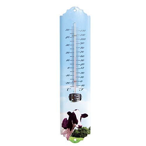 Antikas - Termómetro para animales, de hierro, lacado azul claro, diseño de vaca