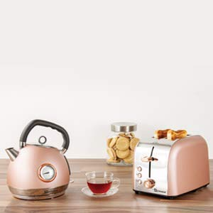 SQ Professional Epoque Breakfast Set 2pc Kettle with Rose Gold Accents & Temperature Display 2200W - 2 Slice Toaster with Rose Gold Accents, High-Lift, Wide Slots & 6 Browning Levels 900W (Pink)