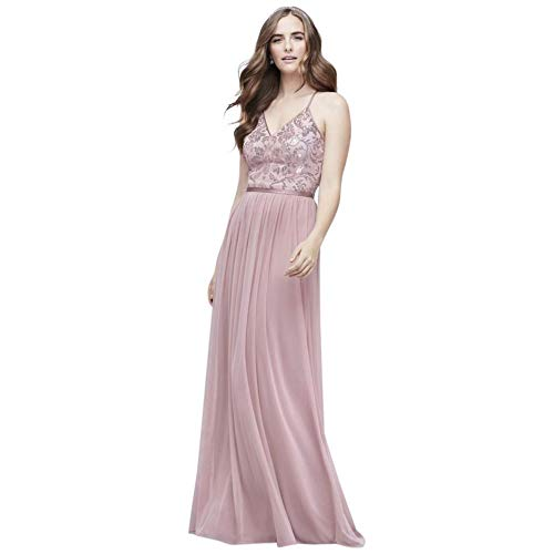 David's Bridal Sequin Bodice V-Neck Dress with Mesh Skirt Style DS270019, Dusty Rose, 10