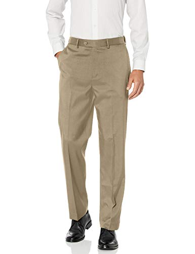 Savane Men's Flat Front Stretch Crosshatch Dress Pant, Dark Patina, 40W x 29L
