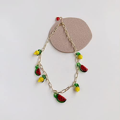 N/A Collares Mujer Cadena Retro Europea Y Americana Collar De Sandía Roja Pulsera Ins Femenina Collar De Cadena De Borla De Fruta Collares De La Amistad para Collar Pareja
