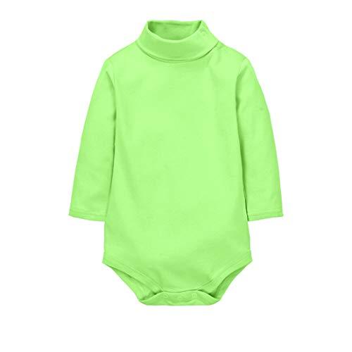 CuteOn bébé Garçons Filles Solide Couleur De base Col roulé Coton Bodysuit Top - Vert 9 Mois