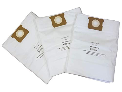 CASA VACUUMS Replacement 15-22 Gallon HEPA Bags - Compatible with Shop-Vac Wet/Dry Units, Compare to 9067300 Hi-Efficiency Type J 90663 Type G 9066300 - TEAR RESISTANT - 9021433 CRAFTSMAN 38749, 3PK