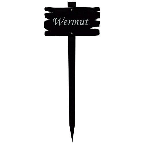Pique de jardin en verre acrylique Panneau aspect bois - Noir – Nom de plante (en allemand) au choix Wermut