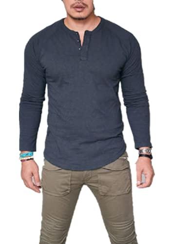 Carolilly Camiseta de manga larga para hombre, de algodón, corte ajustado, para el gimnasio, informal, para el otoño, azul, XL