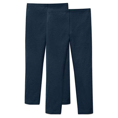 ORIGINAL BASICS Mädchen Lange Leggings aus Baumwolle Blickdicht Normaler Bund (2 Pack) Marine-Blau 128/134